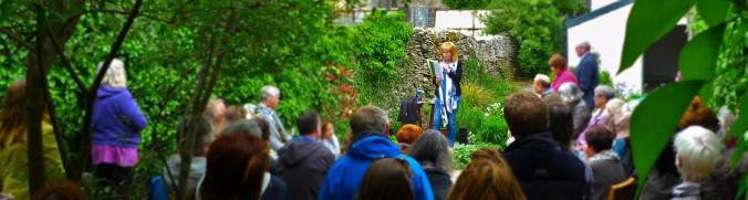Rita Ann Higgins reads in the Salmon Bookshop & Literary Centre's Walled Garden