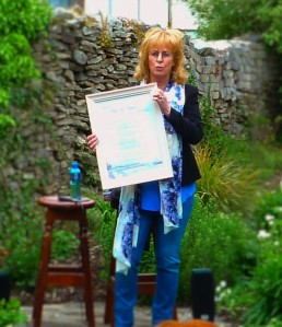 Poet Rita Ann Higgins, presented with a specially commissioned print to celebrate her 60th birthday